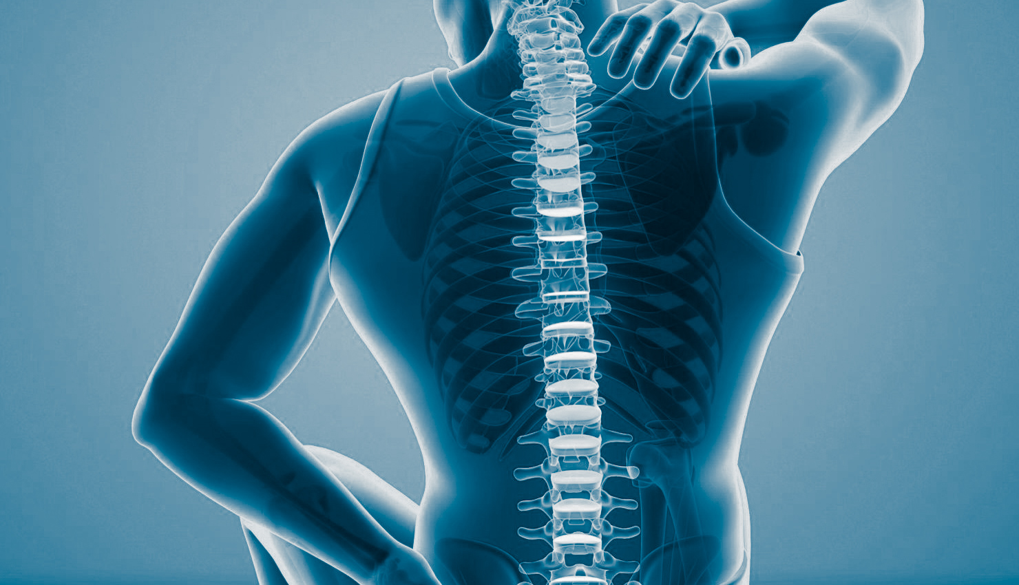 Man with back pain, computer illustration.