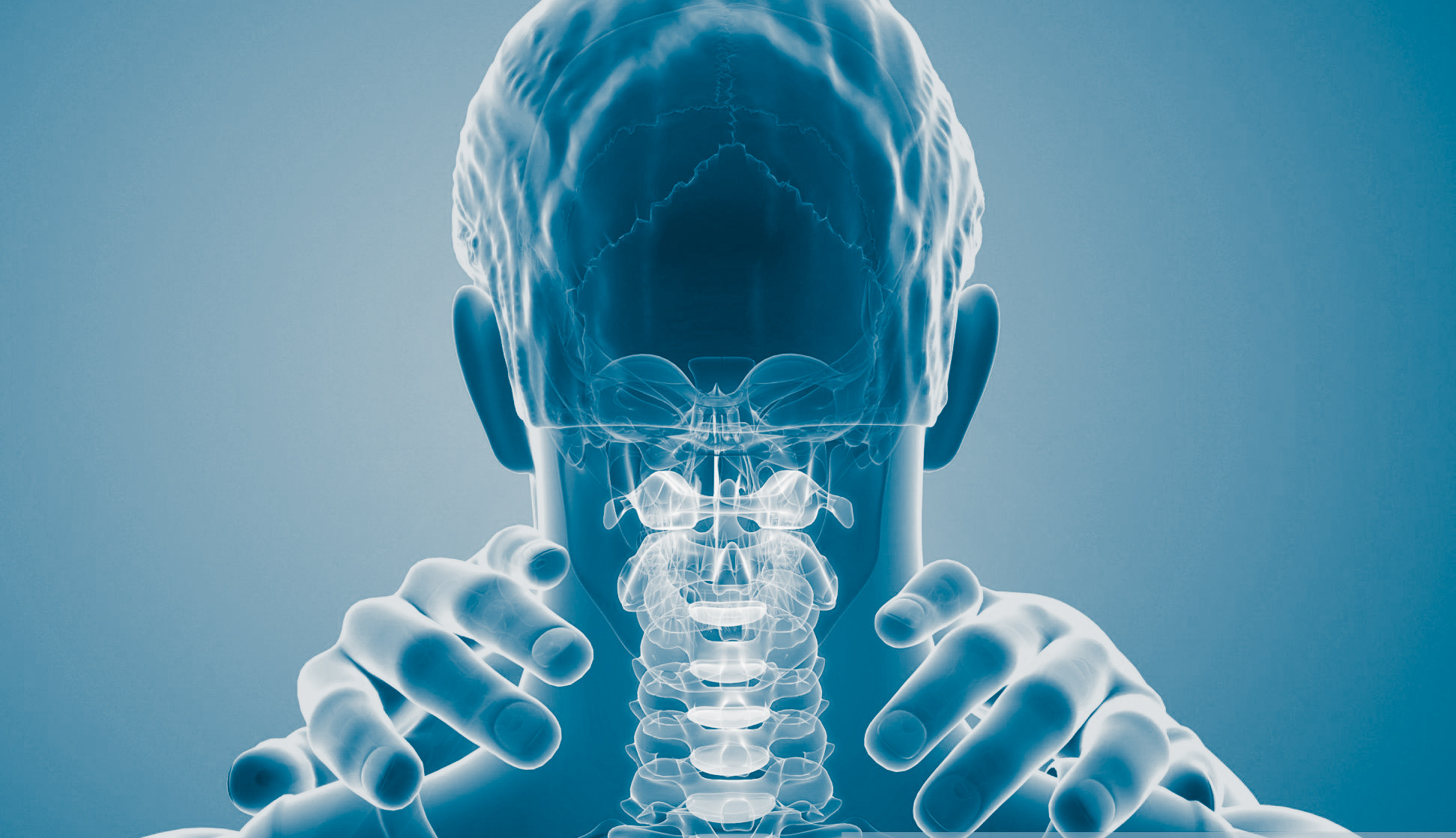 Man with neck pain, computer illustration.