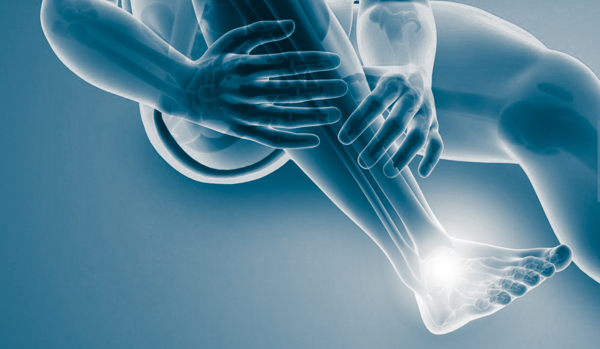 Man with foot pain, computer illustration.